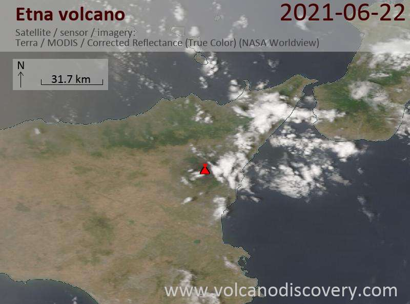 Etna Volcano Volcanic Ash Advisory: ERUPTION AT 20210623/0100Z ASH CLOUD MOVES TOWARD E OBS VA DTG: 23/0130Z to 18000 ft (5500 m)
