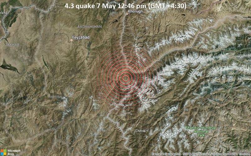 Moderate magnitude 4.3 quake hits 16 km southwest of Ishqoshim, Afghanistan around noon