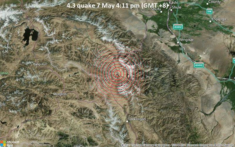 Moderate earthquake of magnitude 4.3 just reported 100 km northeast of Murghab, Tajikistan
