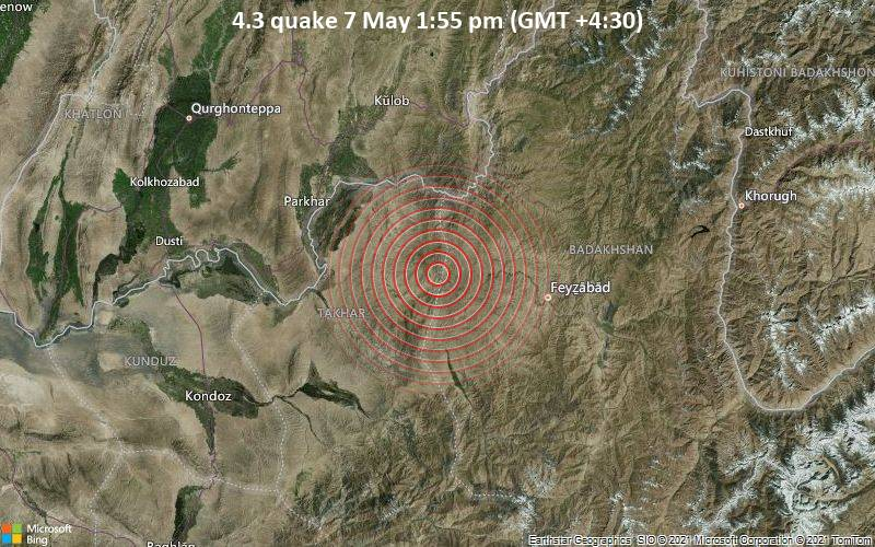 Moderate tremor of magnitude 4.3 just reported 20 km northeast of Rustāq, Afghanistan
