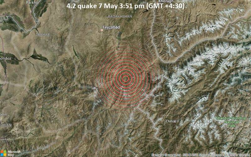 Moderate tremor of magnitude 4.2 just reported 83 km southeast of Fayzabad, Afghanistan