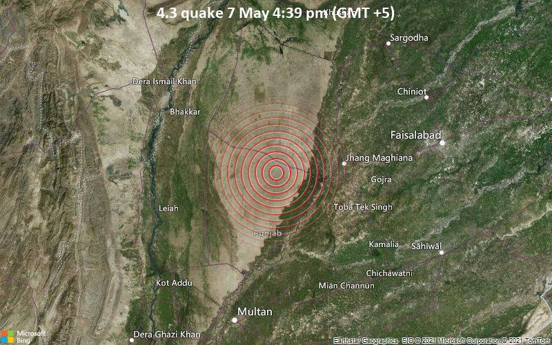 Moderate earthquake of magnitude 4.3 just reported 52 km west of Jhang Sadr, Pakistan