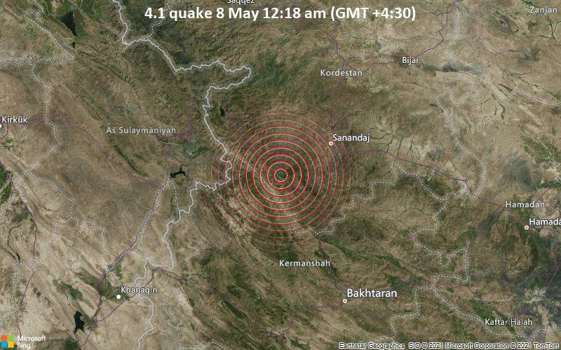 Moderate tremor of magnitude 4.1 just reported 43 km southwest of Sanandij, Iran