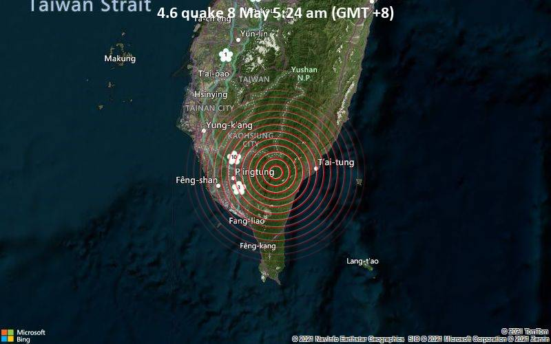 Moderate magnitude 4.6 quake hits 33 km west of Taitung City, Taiwan early morning