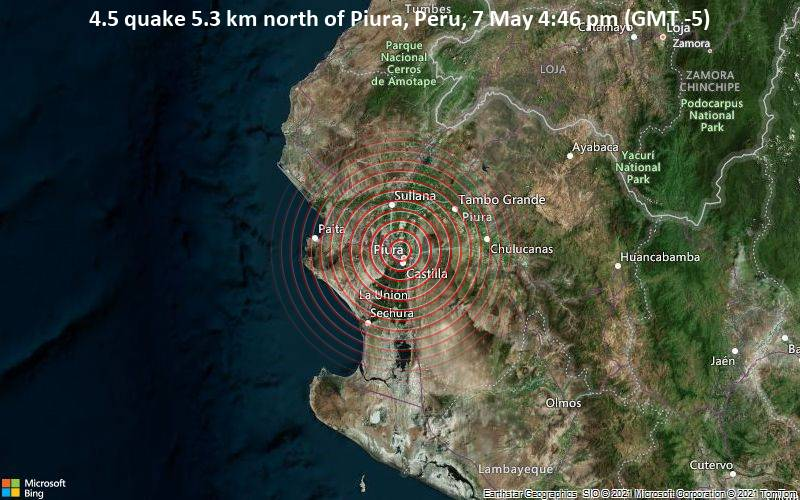Moderate magnitude 4.5 earthquake 5 km northwest of Piura, Peru