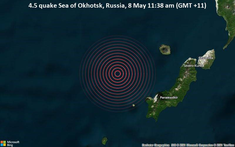 Moderate 4.5 quake hits near Severo-Kuril'sk, Sakhalin Oblast, Russia