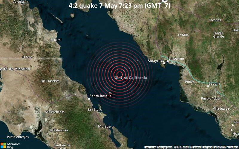 Moderate magnitude 4.2 quake hits 82 km southwest of Guaymas, Mexico early evening