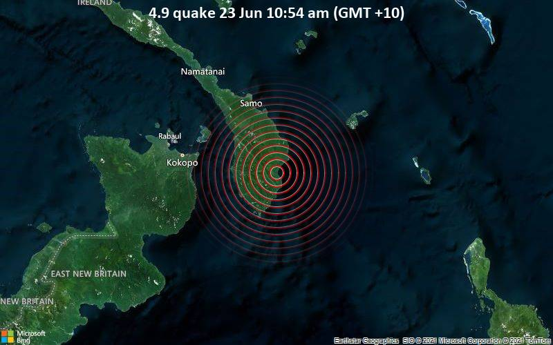 Moderate earthquake of magnitude 4.9 just reported 85 km east of Kokopo, Papua New Guinea