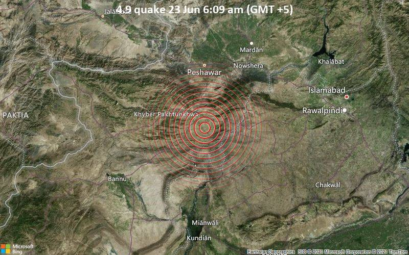 Moderate earthquake of magnitude 4.9 just reported 16 km southeast of Kohat, Pakistan