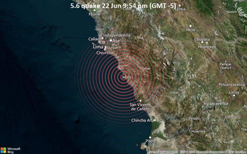 Significant magnitude 5.6 earthquake 6 km west of Mala, Peru