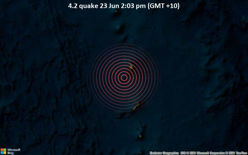 Moderate magnitude 4.2 earthquake 21 km southwest of Agrihan Village, Northern Mariana Islands
