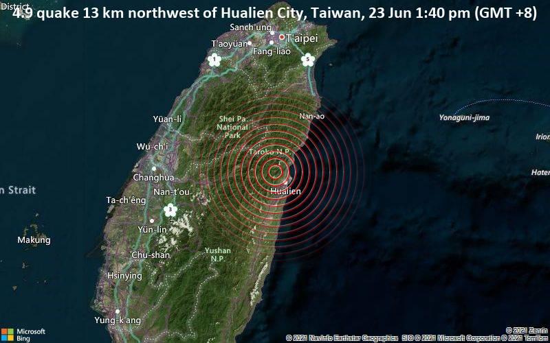 Moderate 4.9 quake hits near Hualien City, Hualien, Taiwan