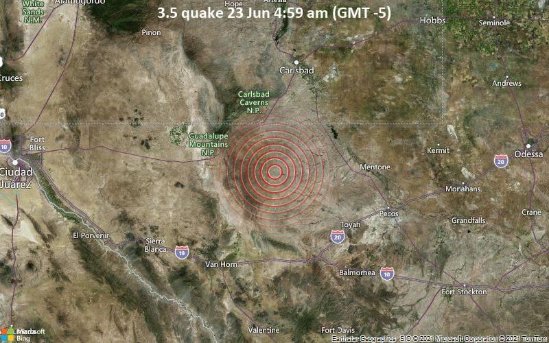 Magnitude 3.5 earthquake strikes near Carlsbad, Eddy County, New Mexico, USA