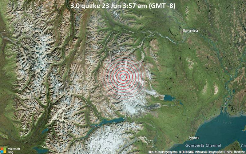 Small earthquake of magnitude 3.0 just reported 43 miles southwest of Skwentna, Alaska, United States