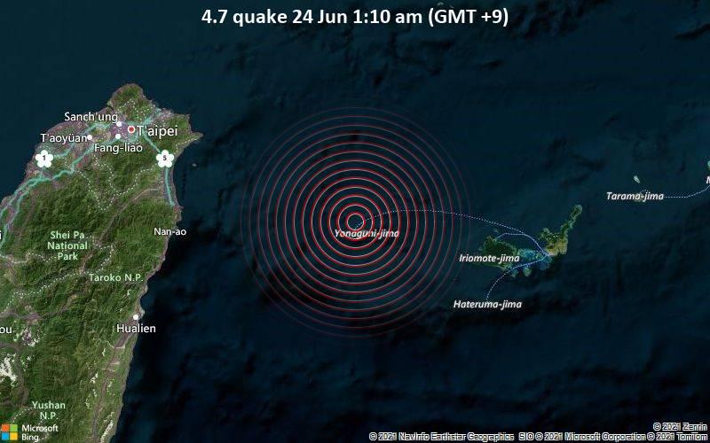 Moderate magnitude 4.7 earthquake 8 km northwest of Yonakuni, Japan