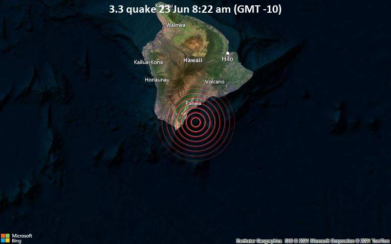 Small magnitude 3.3 quake hits 10 miles southeast of Naalehu, Hawaii, United States in the morning