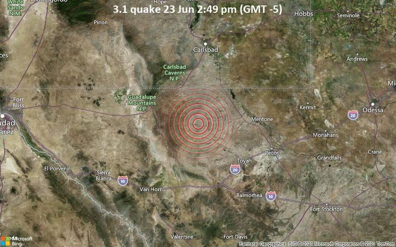 Small 3.1 quake hits near Toyah, Reeves County, Texas, USA