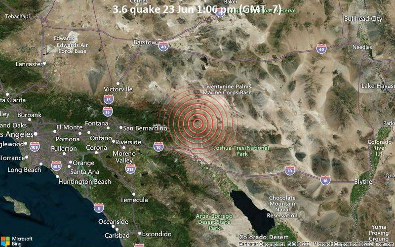 Small tremor of magnitude 3.6 just reported 2 miles northwest of Yucca Valley, California, United States