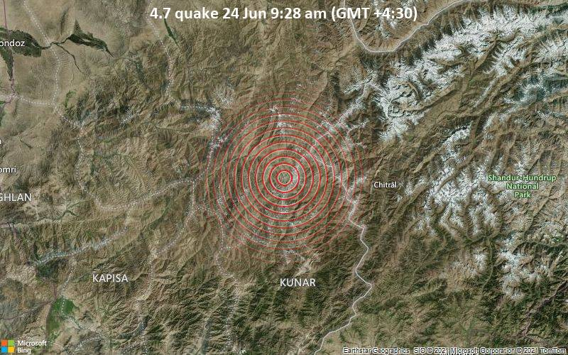Moderate magnitude 4.7 quake hits 53 km north of Pārūn, Afghanistan in the morning