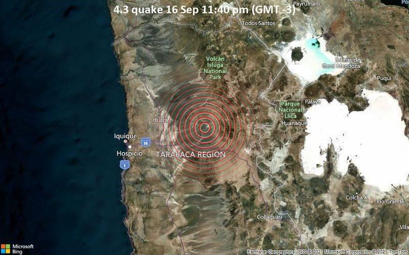 Moderate 4.3 quake hits near Iquique, Provincia de Iquique, Tarapaca, Chile