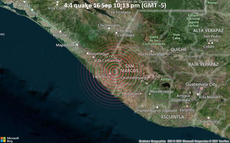 Magnitude 4.4 earthquake strikes near Tapachula, Chiapas, Mexico