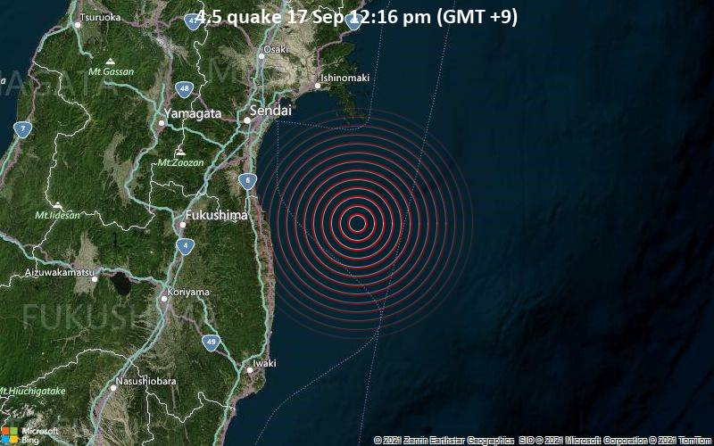 Moderate earthquake of magnitude 4.5 just reported 68 km southeast of Watari, Japan