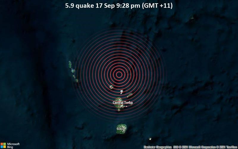 Significant earthquake of magnitude 5.9 just reported 64 km north of Sola, Vanuatu