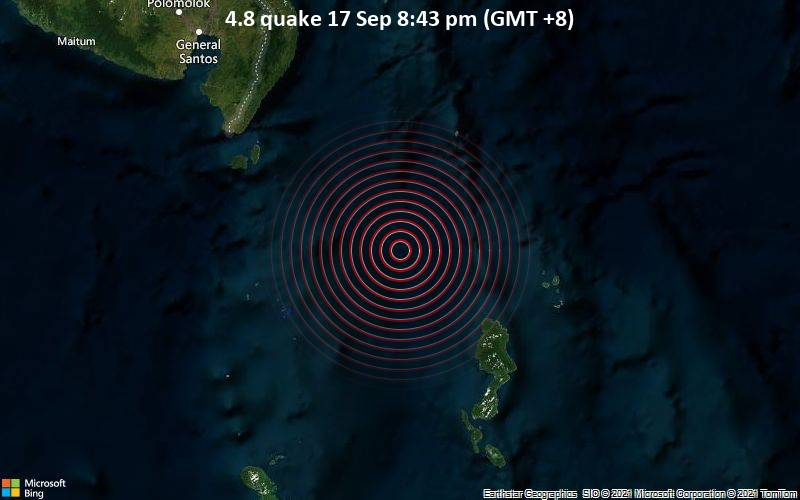 Moderate magnitude 4.8 earthquake 104 km southeast of Sarangani, Philippines