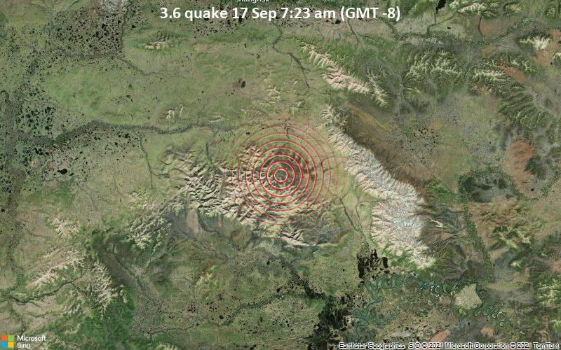 Small magnitude 3.6 quake hits 38 miles south of Shungnak, Alaska, United States in the morning