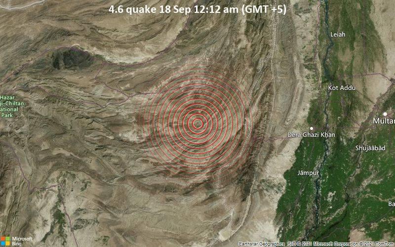 Moderate 4.6 quake hits near Loralai, Loralai District, Balochistan, Pakistan