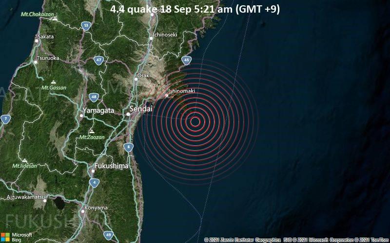 Moderate earthquake of magnitude 4.4 just reported 37 km southeast of Ishinomaki, Japan