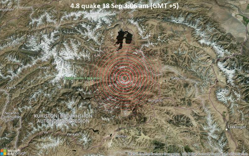 Moderate magnitude 4.8 quake hits 60 km northwest of Murghab, Tajikistan early morning