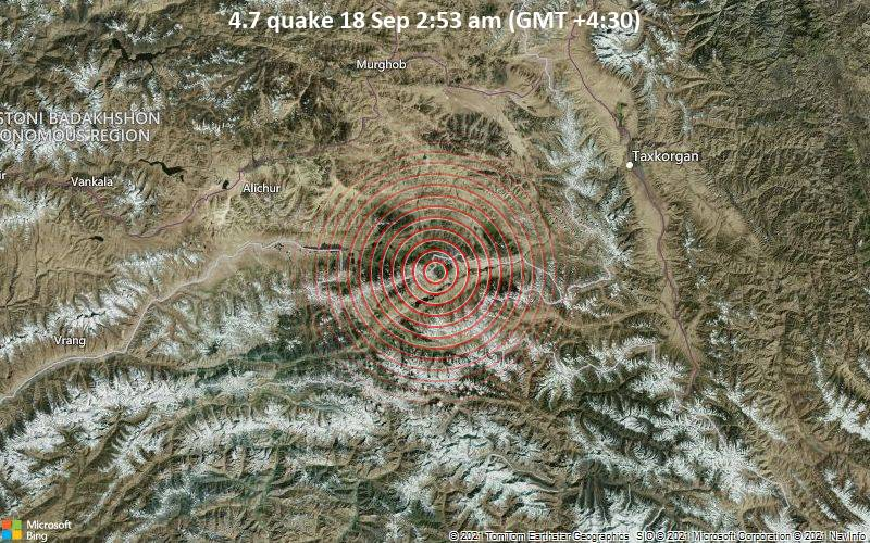 Moderate earthquake of magnitude 4.7 just reported 94 km southeast of Murghab, Tajikistan