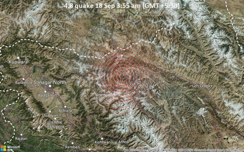 Moderate magnitude 4.8 quake hits 34 km south of Kargil, India early morning