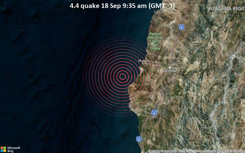 Moderate tremor of magnitude 4.4 reported 85 km southwest of Vallenar, Chile
