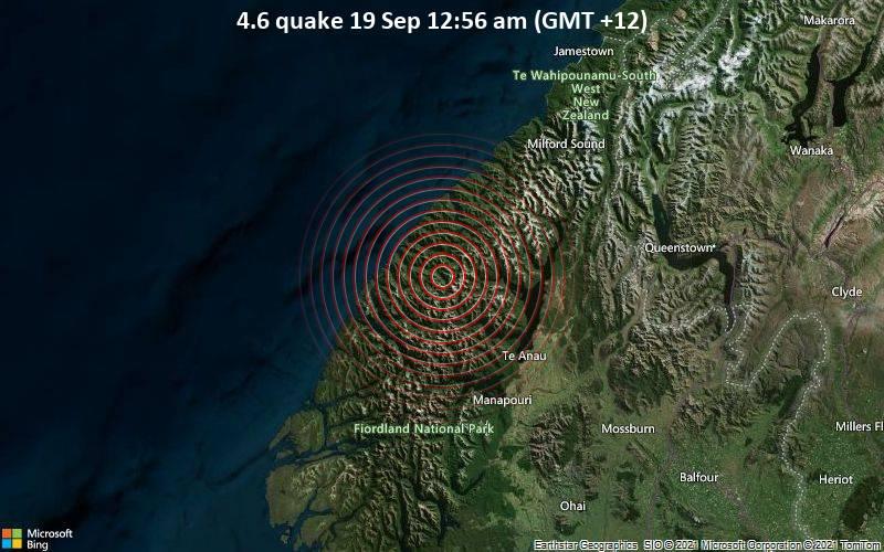 Magnitude 4.6 earthquake strikes near Te Anau, Southland District, Southland, New Zealand