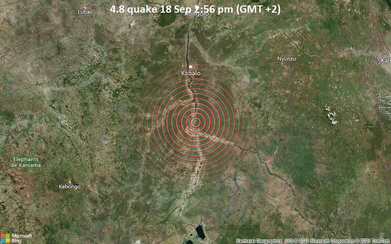 Moderate magnitude 4.8 earthquake 68 km south of Kabalo, Congo - Kinshasa