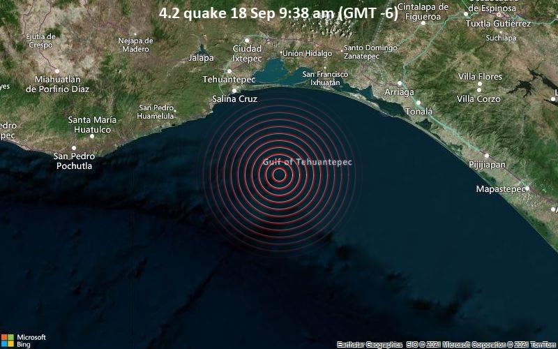 Magnitude 4.2 earthquake strikes near Salina Cruz, Oaxaca, Mexico