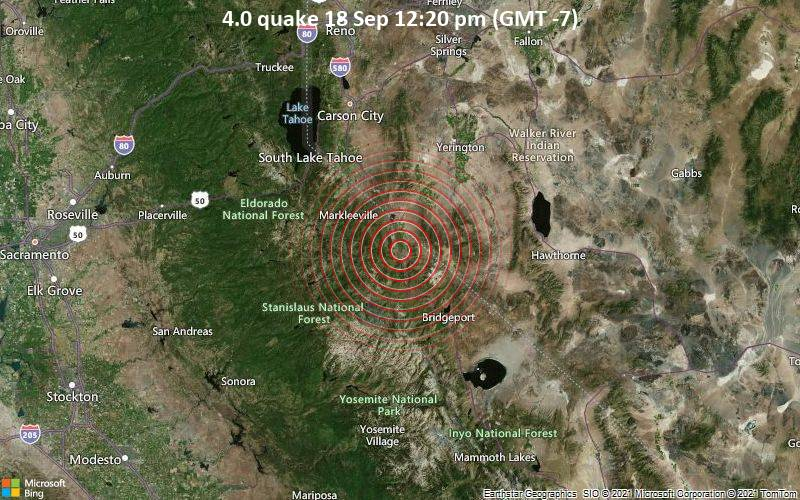 Moderate earthquake of magnitude 4.0 just reported 38 miles southeast of South Lake Tahoe, Nevada, United States