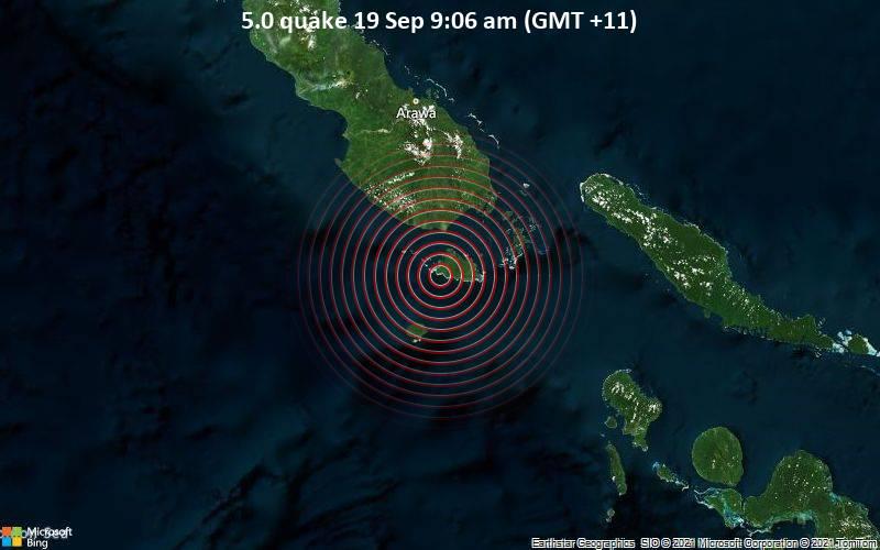 Significant magnitude 5.0 earthquake 97 km south of Arawa, Papua New Guinea