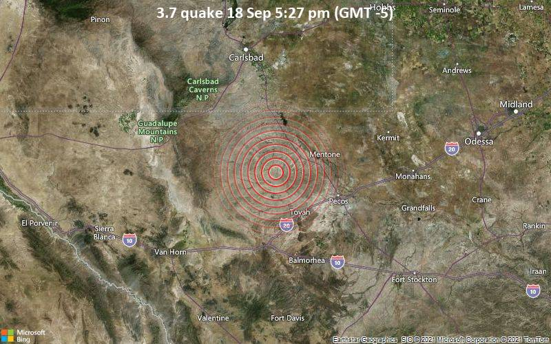 Magnitude 3.7 earthquake strikes near Toyah, Reeves County, Texas, USA
