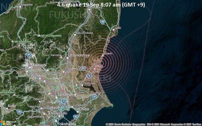 Moderate magnitude 4.6 earthquake 20 km northeast of Mito, Japan