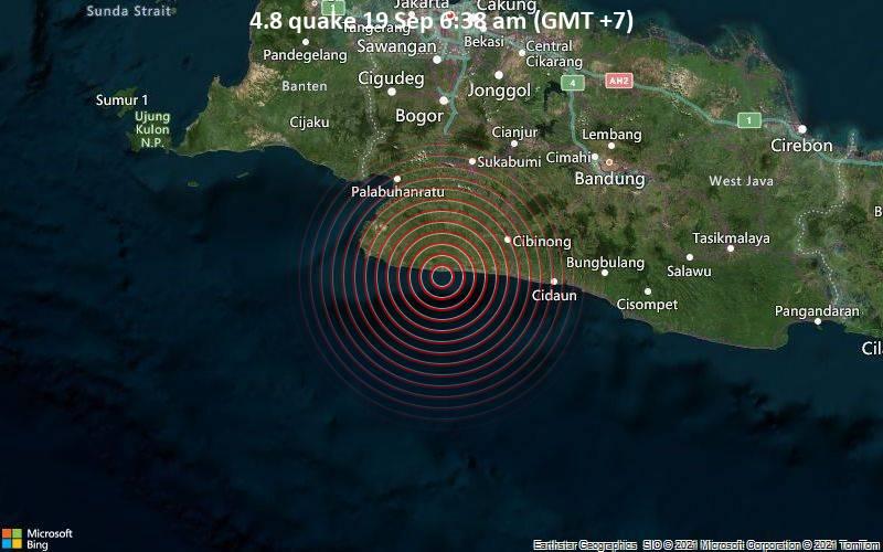 Magnitude 4.8 earthquake strikes near Sukabumi, West Java, Indonesia