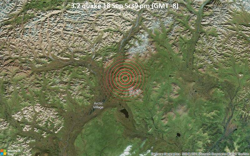 Small magnitude 3.2 quake hits 17 miles northeast of Arctic Village, Alaska, United States in the afternoon