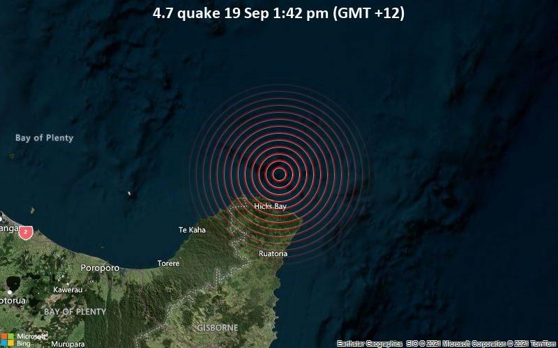 Moderate 4.7 quake hits near Ruatoria, Gisborne District, Gisborne, New Zealand